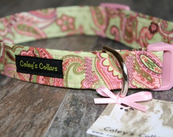 "Dog Collar ""Polka Paisley"" Paisley Dog Collar"