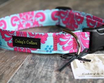 """Pink and Turquoise Damask Dog Collar """"The Princess Damask"""" Custom Dog Collar"""