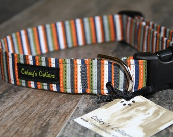 "Dog Collar ""The Ashton"" Striped Dog Collar"