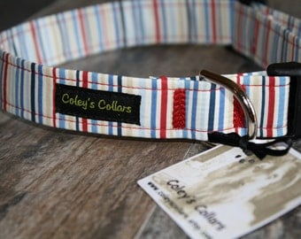 "Dog Collar  ""The Beach Blanket Stripe"""