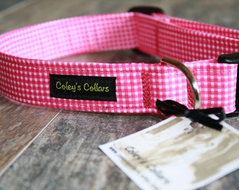 "Vibrant Pink and White Gingham Dog Collar ""The Gingham in Pink"" Custom Dog Collar"