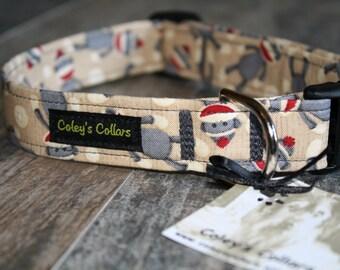 "Sock Monkey Dog Collar ""The Sock Monkey"" Custom Dog Collar"