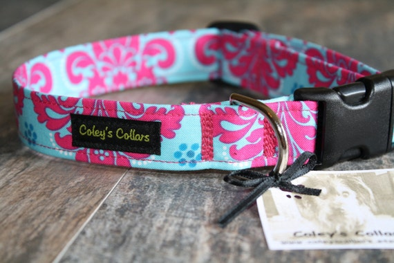 "Pink and Turquoise Damask Dog Collar ""The Princess Damask"" Custom Dog Collar"