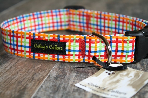 "Dog Collar ""The Primary Plaid"" Multi Colored Plaid Dog Collar"