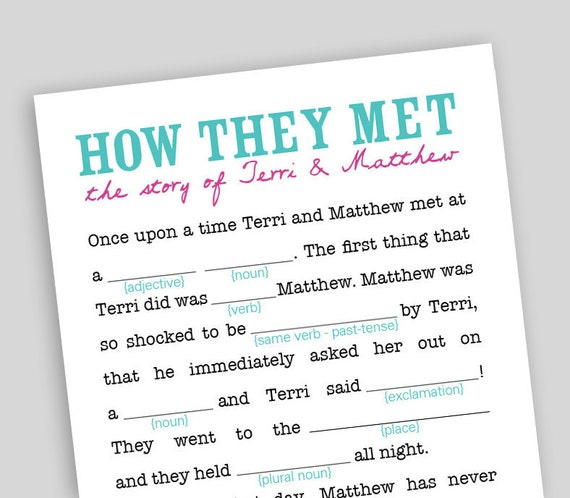 DIY Printable Wedding Mad-Libs by swooncreative on Etsy