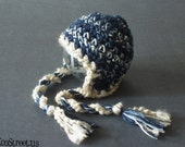Newborn Baby Boy Navy, Blue and White Earflap Crochet Hat, Great for Photo Prop