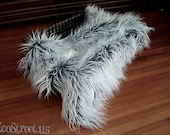 "SALE Frost Gray with White Tips Newborn Baby Boy or Girl Mongolian 3"" Pile Faux Fur Blanket, Great for photo prop"