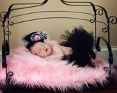 """Pink Newborn Baby Girl Mongolian 3"""" Pile Faux Fur Blanket, Great for photo prop"""