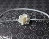 Newborn Headband, Baby Headband - Ivory White Rose Flower , Great for Photo Prop