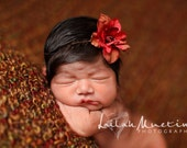 Baby Headband, Red and Brown Flower Newborn Headband, Great for Photo Prop
