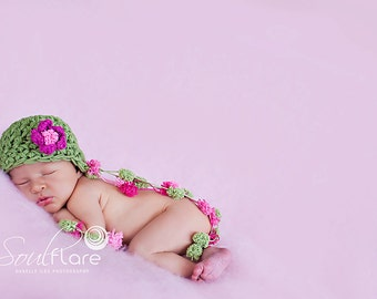 Baby Girl Hat, NewbornCrochet Hat in Pink and Sage Green with PomPom and Flower, Baby Girl Photo Prop