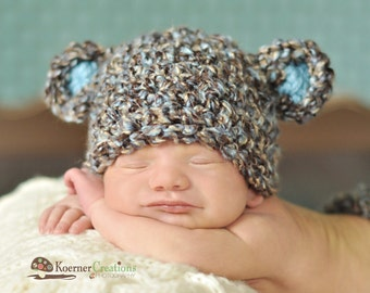 Baby Boy Hat, Baby Bear Hat, Newborn Hat in Brown, Blue and Tan,  Bear Hat, Baby Boy Photo Prop, Newborn Props, Baby Props, RTS Hat