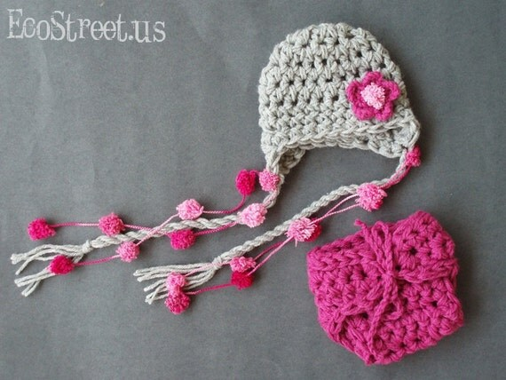 Newborn Baby Girl Gray and Pink PomPom Detachable Flower Earflap Crochet Hat and Diaper cover Set, Great for Photo Prop