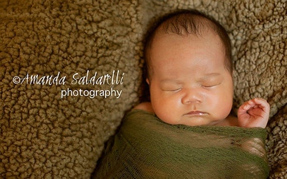 Hand Dyed Olive Green Cheese Cloth Newborn Baby Girl or Boy Cocoon Wrap, Great for Photo Prop