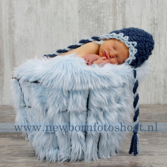 "Blue Shag Faux Fur, Blue Newborn Baby Boy 2"" Pile Faux Fur Blanket, Newborn photo prop, Newborn Props, Blue Basket Stuffer, Long Fur"
