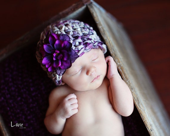 Baby Girl Hat, Newborn Baby Girl  Flower Crochet Hat in Purple and Tan, Great for Photo Prop