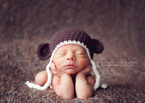 Newborn Baby Boy Or Girl Monkey, Bear Hat in Brown and White, Great for Photo Prop