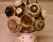 Button Flower Bouquet Floral Arrangement with Vintage Celluloid Buttons