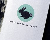 Funny Easter Card Valentine Card - Won't You Be My Bunny