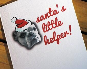 Cute Christmas Card - Bulldog Santas Little Helper