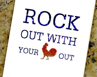 Funny Birthday Card Rockin Rooster