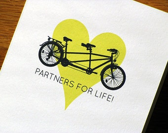 Congratulations Wedding Card Tandem Bicycle