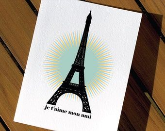 I Love You Card Eiffel Tower Paris France - Valentines Day Card