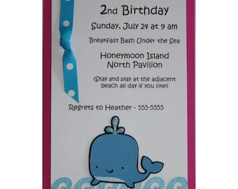 Under the sea Whale birthday party invitation