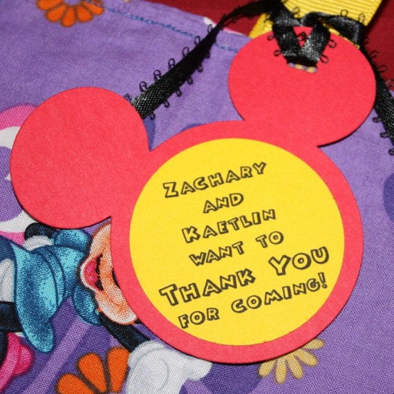 Mickey Mouse ears favor thank you tags or stickers