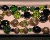 Czech Necklace Crystal Beads Gold and Black Beads Green AB Crystal Beads
