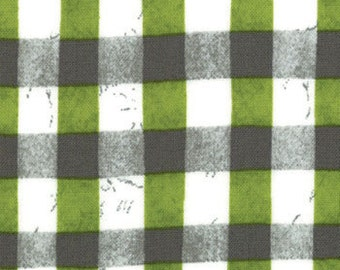 Steel and Acid Green (White and Olive and Gray) Plaid from the Stitch in Color Collection, by Moda