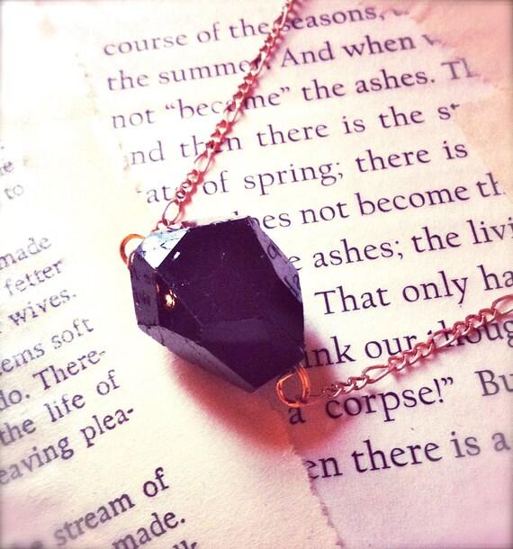 Glittering Coal Necklace // Rare Black Tourmaline Nugget // Raw Mineral Pendant