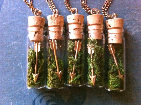 Arrow & Moss Necklace - Hunger Games Inspired Pendant with Glass Vial and Cork