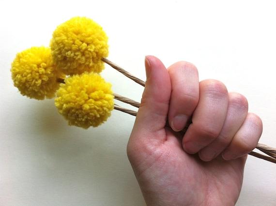 Spring Pom Pom Flowers in Mustard / Yellow Billy Balls / Billy Button Bouquet