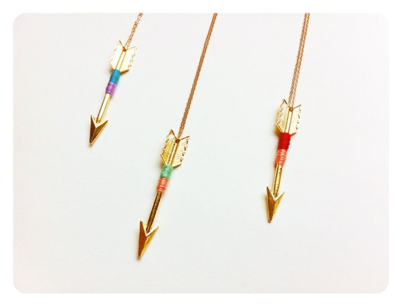 Road Trip Necklace // Neon Tribal Golden Arrow Pendant on Long Copper Chain // Choose Your Color