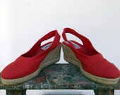 Red Canvas Wedge Espadrilles Vintage 1970s Shoes COUP D'ETAT/Made in Spain