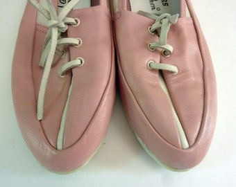 Pink Leather Moccasins Bowling Shoe Style Size 7