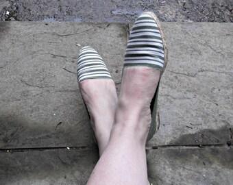 Vintage Canvas Espadrilles/Flats/Green-White Stripes/Andre Assous