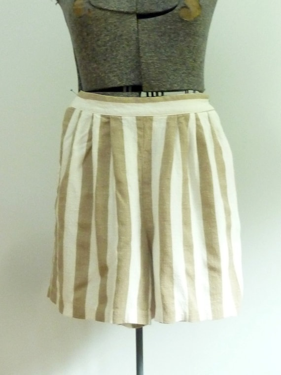 1980s Striped Pleated Shorts