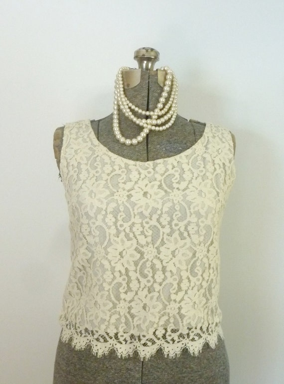 Vintage 1960s Lace Blouse/Short Shell