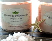 Pink Himalayan Olive Oil Salt Scrub with Lemon Essential Oil. Facial Scrub