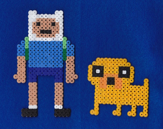 Adventure Time Finn and Jake Perler Bead Sprite Pixel Art Decoration