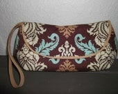 Clutch in brown and turquoise damask, made to order