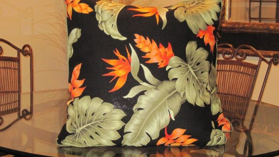 Set of Two Hawaiian Print Barkcloth Pillow Covers - 18 x 18