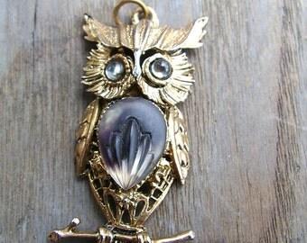 OWL PENDANT 1960s 1970s Mod Cabochon