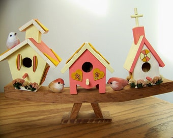 Folk Art Birdhouse Village- Unique Three Houses & Birds on One Base- Decorative Gift for Mom/Grandma-  Pastel Yellow/Peach/White Home Decor