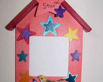 Photo Frame Gift from Daughter/Granddaughter - Insert Childs Picture - Birdhouse, Stars & Bird - Shining Star - Can be Personalized