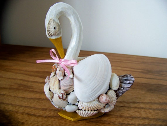 Original Handmade Natural Seashell Graceful Swan  - Home Decor - 3d Accent Piece -  Free Shipping