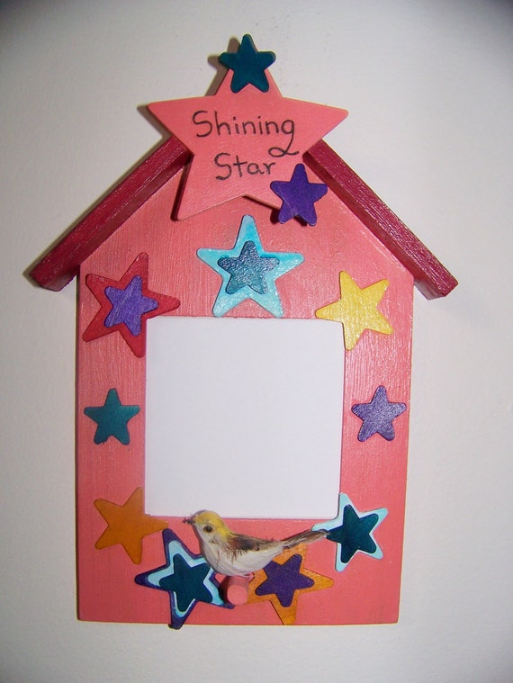 Photo Frame from Girl - Father's Day Gift with Child's Picture to Dad/Grandpa - Birdhouse, Stars & Bird - Shining Star - Personalized