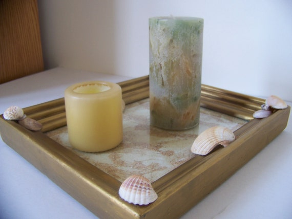 Unique Seashell Candle Holder/Serving Tray - Reclaimed Antique Picture Frame - Was 50.00 - Natural Seashells/Sand/Glass - Home Decor